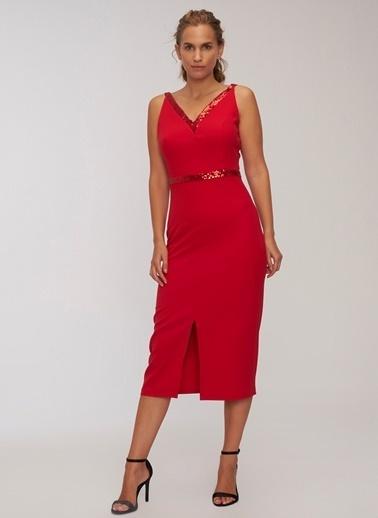 People By Fabrika Payetli Elbise Kırmızı